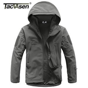TACVASEN Army Camouflage Jacket Coat Hombres Chaqueta táctica Softshell Chaqueta impermeable Fleeced Ropa de caza militar a prueba de viento SH190915