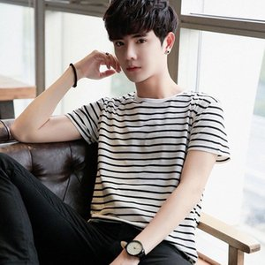 Новые продукты Black And White Stripes Tops мужская одежда Цзя Er Цзянь с коротким рукавом рубашки Корейский стиль Slim Fit Blank T Shirt Base S MgPh #