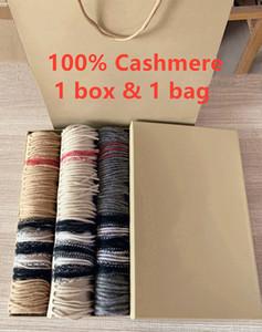 Com caixa de presente Saco de papel 2019 Womens Inverno Luxo Designer Cachecóis High End 100% Cashmere Scarf para homens B Clássico da manta Xales Lenços