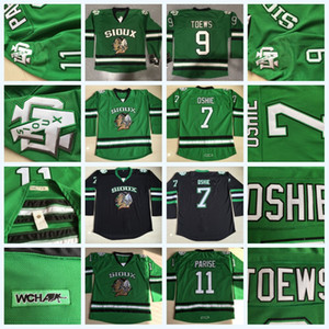 North Dakota Kämpfen Sioux 7 TJ Oshie 9 Jonathan Toews 11 Zach Parise College Kämpfende Falken UND Hockey Jersey Herren DAKOTA College Jersey