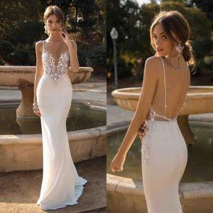 Sexy Spaghetti Open Back sereia Bohemian Vestidos de casamento elegante do laço Appliqued Praia Boho Plus Size Vestido de Noiva BC1345