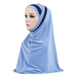 2020 Double Loop Instant Hijab Under Scarf Muslim Women Shawl Turban femme Satin Wrap Arab Headdress Ready To Wear Headscarf