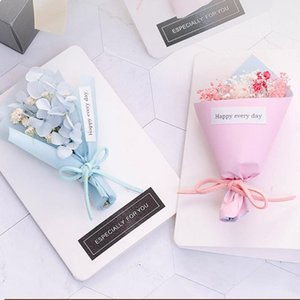 Fiore secco Biglietto di auguri con il contenitore di regalo Bouquet regalo saluto Cartolina del partito il giorno di scheda madre favori di inviti di nozze