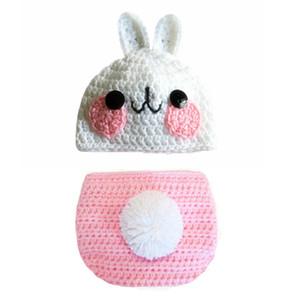 Güzel Yenidoğan Pembe Paskalya Bunny Kıyafet, El Yapımı Örgü Tığ Erkek Bebek Kız Tavşan Bunny Şapka ve Bezi Kapak Seti, Bebek Yürüyor Fotoğraf Prop