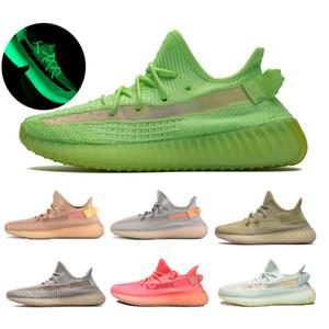 2020 Adidas Yeezy Boost 350 v2 Rose GID Lueur dans la course sombre Argile statique Chaussures Hommes Femmes Kanye West Designer véritable forme Zebra Sneakers