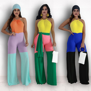 Patchwork Women Jumpsuits Sleeveless Halter Rompers Casual Wide Leg Pants Jumpsuit One-piece Bodysuit With Belt Female Design Romper Outfits
