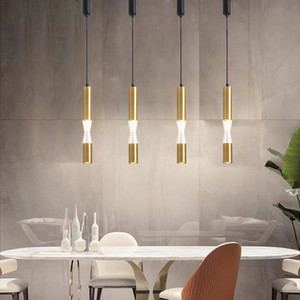 Lâmpada fluorescente LED luminária Longo Ilha de cozinha Sala de jantar loja de Bar AluminumAcrylic de suspensão Luz Cozinha Lamp