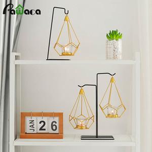 Nordic Style titulares Hierro forjado geométrico candlestick Partido Puntales boda de la lámpara decoración del hogar artesanales de metal SH190924