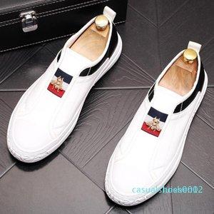 Kuhfell kleinen weißen Schuh loafer Schuh Freizeit-Brettschuhe nerw weiche Sohle Schuh Stylist elastischer Gürtel Biene Stern Schuhe V84 c12