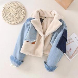 2019 Новый стиль Мода зима Джинсовый Лоскутная искусственного меха Пальто Faux женщин овечьей шерсти меховой воротник отложной Denim Верхняя одежда