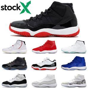 Новый Jumpman 23 Разводят 2019 11s Mens Basketball обувь 11 XI Gym красной шапочке и мантии Metallic Silver Concord High 45 Спортивные кроссовки