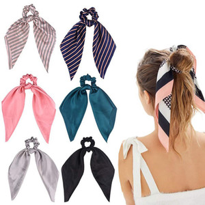 Веревка хвостик Шарф Резинка для волос для женщин Bands волос бабочек Scrunchies волоса Цветок Stripe Print Лента Hairbands Мода лето ювелирных изделий