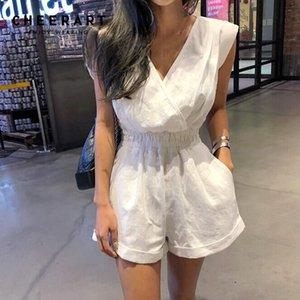 Cheerart Summer Cotton Playsuit Women V Neck Wrap Jumpsuit Short White Sleeveless Open Back Loose Overalls Combishort Femme T200704