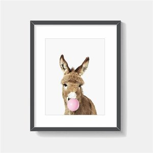The Yellow Donkey Blowing Bubble Minimalist Animal Canvas Painting Wall Picture Poster And Print Decorative Home Decor