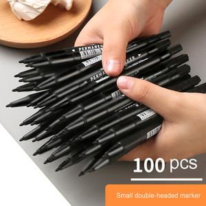 100 crochet noir marque grasse petite double tête ligne grande signature marqueur stylo peinture tête fournitures d'art stylo