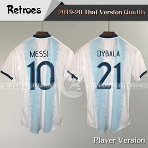 نسخة اللاعب 2019 Copa América Argentina home كرة القدم الفانيلة رقم 10 MESSI # 21 DYBALA 19/20 Soccer Shirt 2019/20 National team football Shirt
