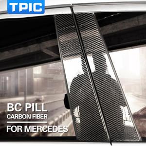 Углеродного волокна окна автомобиля B C колонны авто наклейки отделка обложки стайлинга автомобилей для Mercedes Benz W204 W205 C E Class GLA GLC аксессуары
