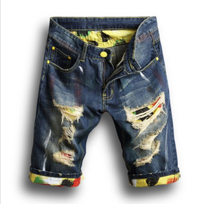 New Summer Mens Holes Denim Shorts Fashion Men Denim Jeans Slim Straight Pants Trend Mens Designer Pants
