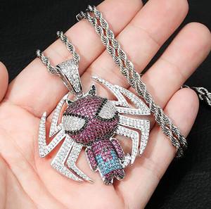 14 K chapado en oro Hip Hop Cartoon Spider colgante collar para hombre Micro Pave diamantes de circonia cúbicos con cadena de cuerda de 24 pulgadas