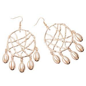 Monili della lega d'oro d'epoca di mare stelle marine di Shell ciondola Errings per le donne rotondo del cerchio con pietra perline orecchini di estate