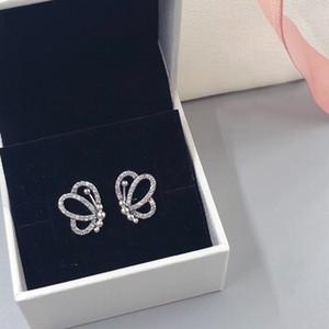 Volo della farfalla CZ Diamante Orecchini dei monili del progettista di lusso con la scatola per Stud orecchino di Pandora 925 sterlina delle donne di alta qualità
