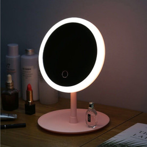 LED Makeup Mirror Adjustable 3 Light Makeup Mirror With Lamp Desktop Rechargeable Girl Portable Mirror Table Lamp XD23559
