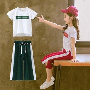 3-12Y Verão das crianças das crianças dos bebés Carta Tops T-shirt Calças Stripe Esportes Outfits Set menina crianças roupas roupas S10