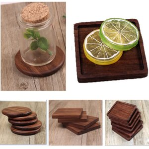 4 Estilos Posavasos de madera Café Taza de té Almohadillas Esteras para Beber con Aislamiento Nogal Negro Tetera Esteras de la Mesa escritorio del hogar Esteras Decoración DHL HH9-2280