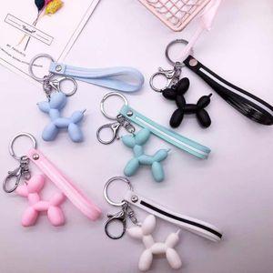 Cartoon Ballon-Hund Keychain Bunte weiche Gummi Pvc reizende Hundeanhänger für Frauen Schlüsselanhänger Auto-Schlüsselring Beutel-Anhänger Schmuck