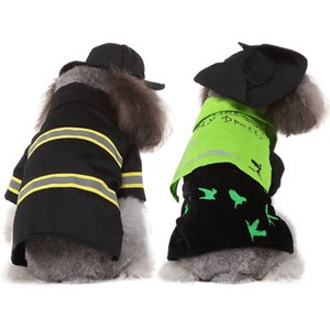 Pet Cosplay Costume Dog Funny Fireman Outfits Set Puppy Halloween 2-legged Coat And Hat Set For Small And Medium Dogs