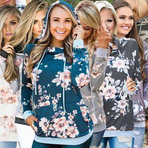 Floral Hoodies Frauen Kapuzen-Sweatshirt beiläufige Taschen Printed Herbst Langarm Outdoor-Tops Pullover Outwear OOA7438-