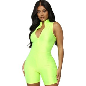 Women Lady Mini Playsuit Jumpsuit Romper Summer Beach Casual Print Club V-Neck Zippers solid Rompers Playsuit