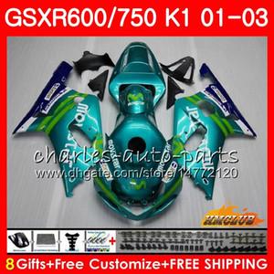 8Gifts Body for Suzuki GSXR600 GSX R750 K1 GSXR-600 GSX-R750 4HC.29 GSX-R750 4HC.29 GSXR750 GSXR 600 750 01 02 03 2001 2002 2003 Movistar Green Giring Kit