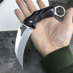 Высокое качество Karambit Fixed Blade Claw Claw нож D2 атласная / каменная мытье Black G10 ручка для выживания тактические ножи с кидекс