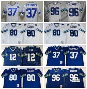NCAA Football 37 Shaun Alexander 80 Steve Ларгент Трикотажные изделия 96 Cortez Kennedy 12 12 Вентилятор Цвет прошитой Синий Белый Человек Vintage