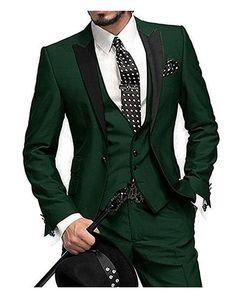 Nouveau populaire un bouton tuxedos Green Groom Peak revers revers hommes mariage Party garçons d'honneur 3 pièces costumes (veste + pantalon + gilet + cravate) K76