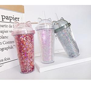 Jugo de vino de cristal del oído del gato intermitente doble capa Kids Cup bebé de la historieta creativa linda de las lentejuelas del vaso de plástico con pajas envío libre