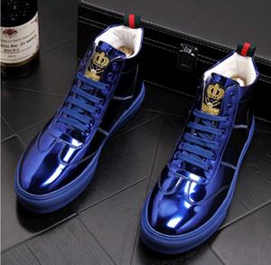 otoño nueva moda Pisos para hombres Zapatos casuales de diseñador de charol para hombres Zapatillas de deporte para hombres