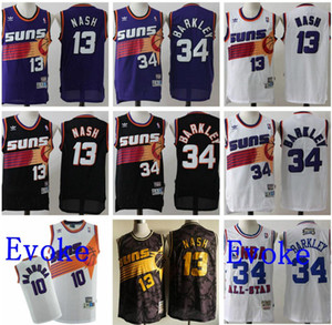 nouveau ThrowbackHommes 34 Charles Barkley Jersey 13 Steve Nash PhoenixSunsBarbosa KJohnsonnba Basketball Maillots Vintage Blanc