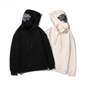 Berühmte Männer Kleidung Mode Letters Print Wolf Stickerei Hoodies Sweatshirts beiläufige lange Hülsen-Pullover Kapuzen-Sweatshirt Schwarz Aprikose