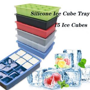 Silicone Ice Cube Tray Moldes fácil libertação flexível Ice Cube Moldes 15 cubos de gelo para Cocktail Whiskey Chocolate