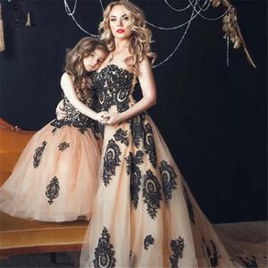 Черные кружевные платья для пагентных платьев черного кружева 2020 Новые вечерние платья выпускного вечера Лучшие подходящие матерью и дочери Party Party Projects Formal Girl платье