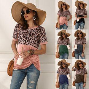 Ursprünglicher Entwurf der europäischen und amerikanischen Frauen tragen Frühjahr und Sommer 2020 neue heiße Verkaufsleoparddruck Splicing Short Sleeve woment-Shirt
