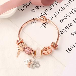 2020 Pandora New Rose Gold Family Pulseira Cadeia Heart Chain Bracelet 18cm / 19cm / 20cm Atacado Frete Grátis