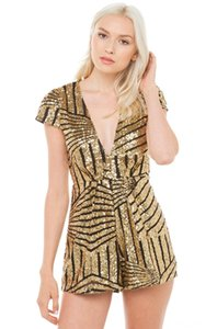 shorts Jumpsuit romper sexy party club beach casual short gold sequins female summer Women's Jumpsuits & Rompers Women's Clothing best se