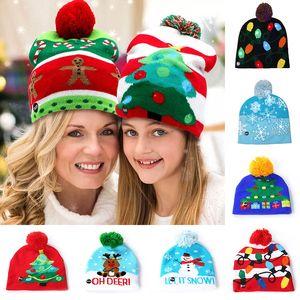 Led Kardan Adam Örme kasketleri Cap İçin kar tanesi Noel ağacı Kadın Çocuklar Sıcak Saç Topu Işık Yukarı Hip-Hop Şapka WX9-1002