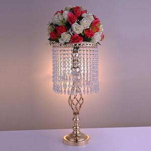 Cristal de color dorado Decoración de la boda Centros de mesa Flor de la boda Titular de la bola Centro de mesa Jarrón Soporte Cristal Candelabro