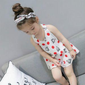Childrens Designer Vestido Headband menina Marca Moda Imprimir Saias menina Backless Halter Dress bebê bonito Vestidos Top Quanlity