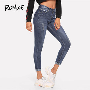 Romwe Solid Ripped Jeans 2019 Cool Pocket Casual Blu Primavera Estate Autunno Donna Fashion Zipper Fly a vita media Jeans strappati J190426
