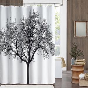 180 * 180cm 욕실 샤워 커튼 검은 나무 디자인 폴리 에스터 홈 샤워 커튼 방수 패브릭 목욕 커튼 후크 욕실 제품